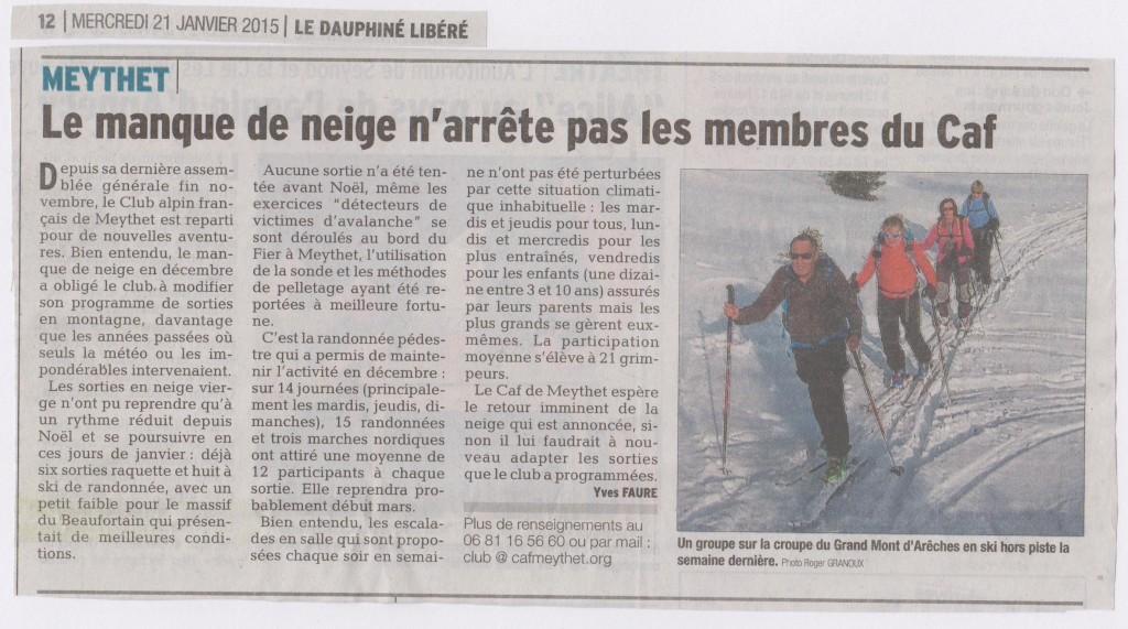 Article Dauphiné Libéré - 21 janvier 2015